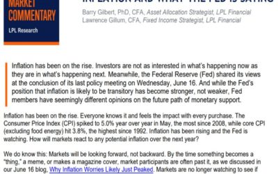 Inflation And What the Fed Is Saying | Weekly Market Commentary | June 21, 2021