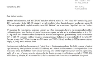 Client Letter   The Bull Market Continues   September 2, 2021